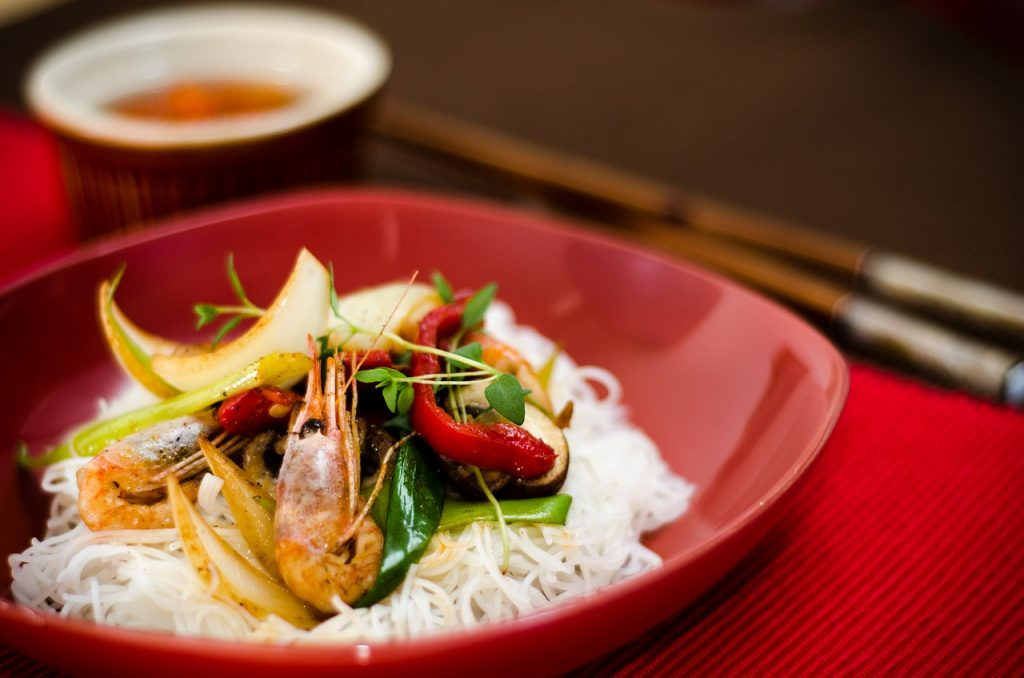 food, asian, prawns